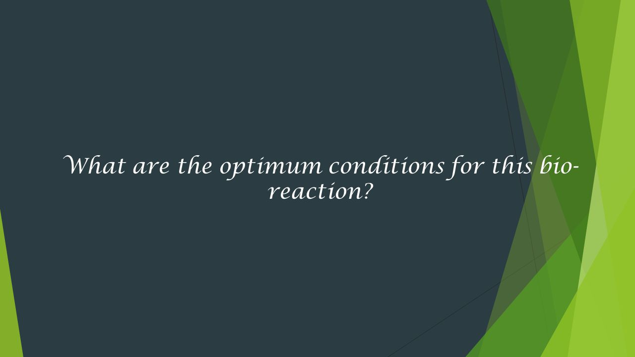 What are the optimum conditions for this bio-reaction