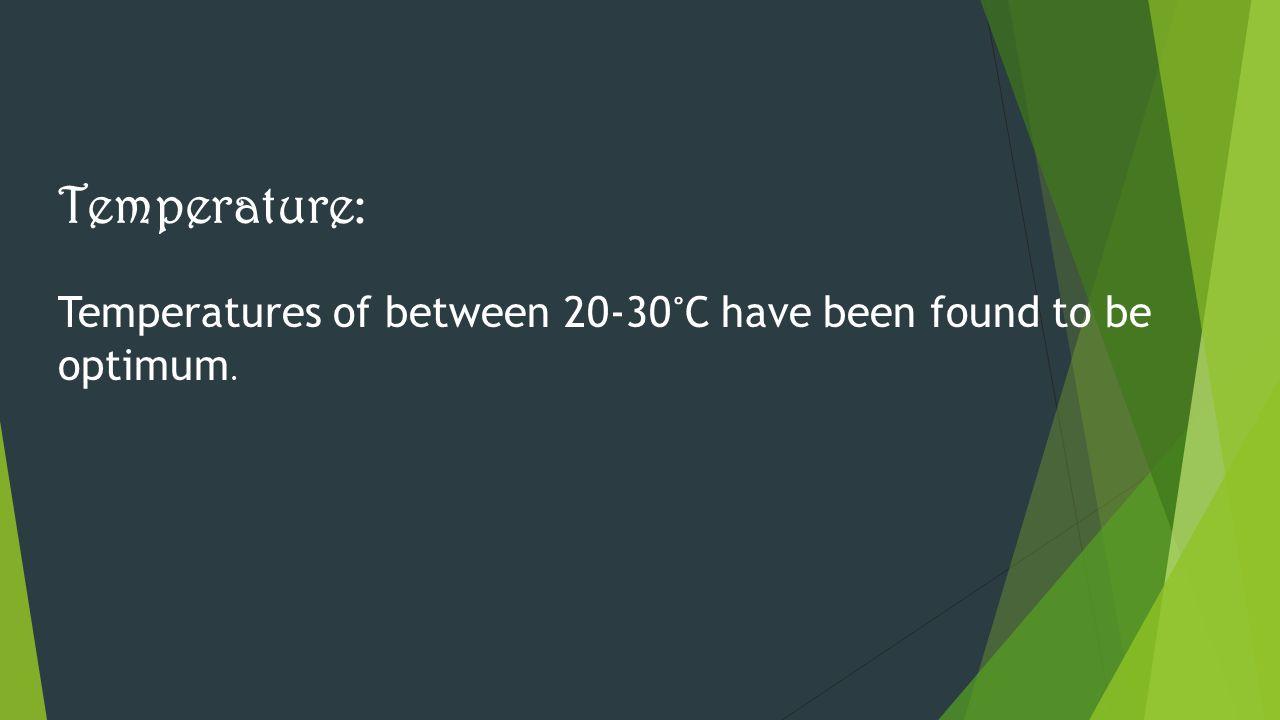 Temperature: Temperatures of between 20-30˚C have been found to be optimum.
