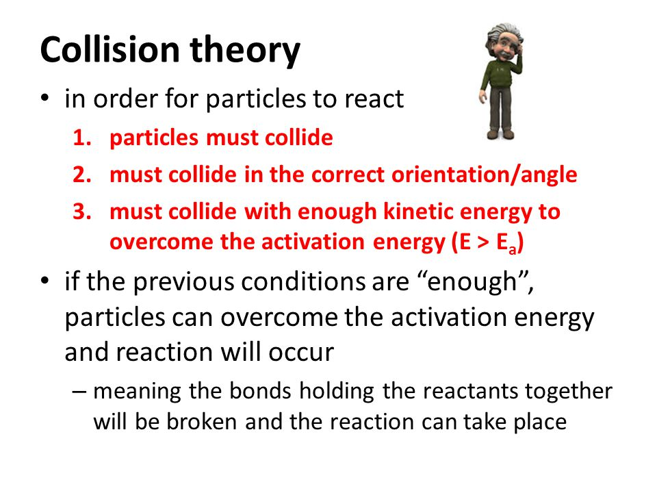 Collision theory in order for particles to react