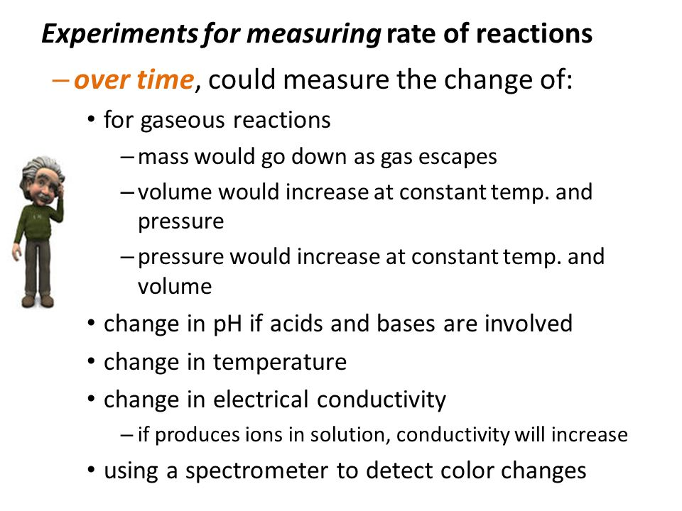 conductivity and reaction rates Measuring the volume of gas evolved or a change in conductivity the rate equation format links the rate of reaction to the concentration of reactants can only be found by doing actual experiments, not by looking at the equation.