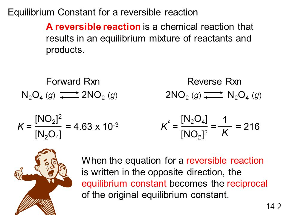 ' Equilibrium Constant for a reversible reaction