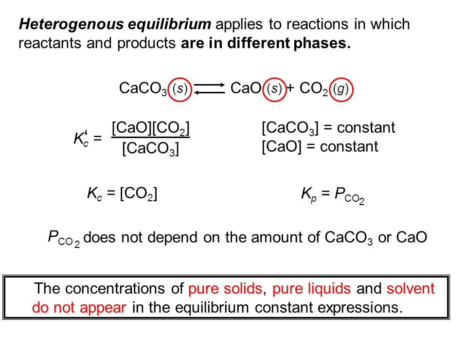 Heterogenous equilibrium applies to reactions in which reactants and products are in different phases.