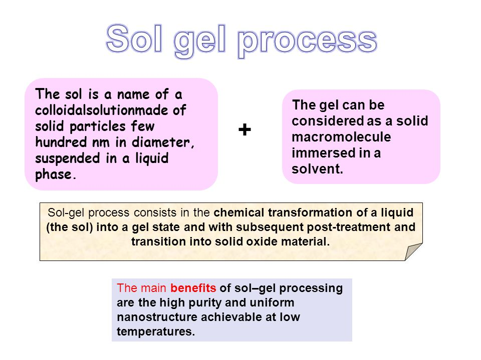 Sol gel process The sol is a name of a colloidalsolutionmade of solid particles few hundred nm in diameter, suspended in a liquid phase.