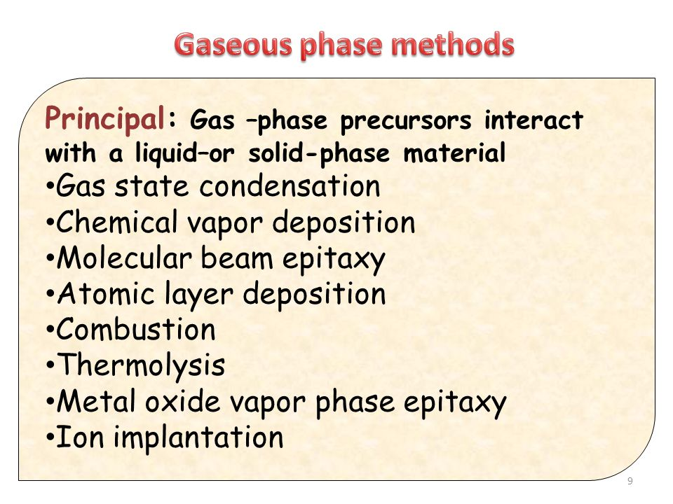 Gaseous phase methods Principal: Gas –phase precursors interact with a liquid–or solid-phase material.