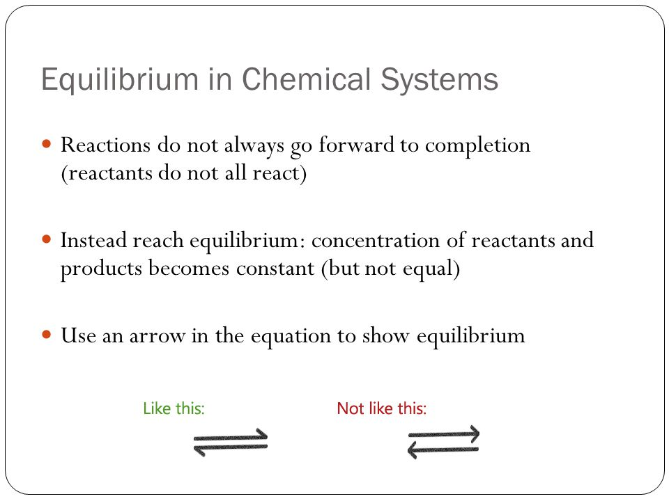 Equilibrium in Chemical Systems