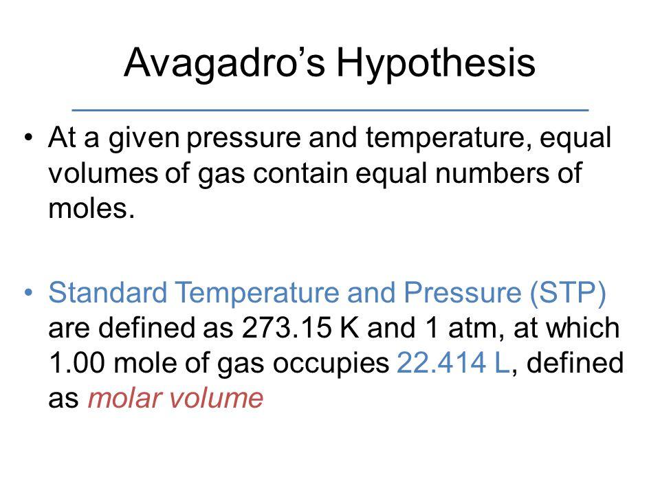 Avagadro's Hypothesis