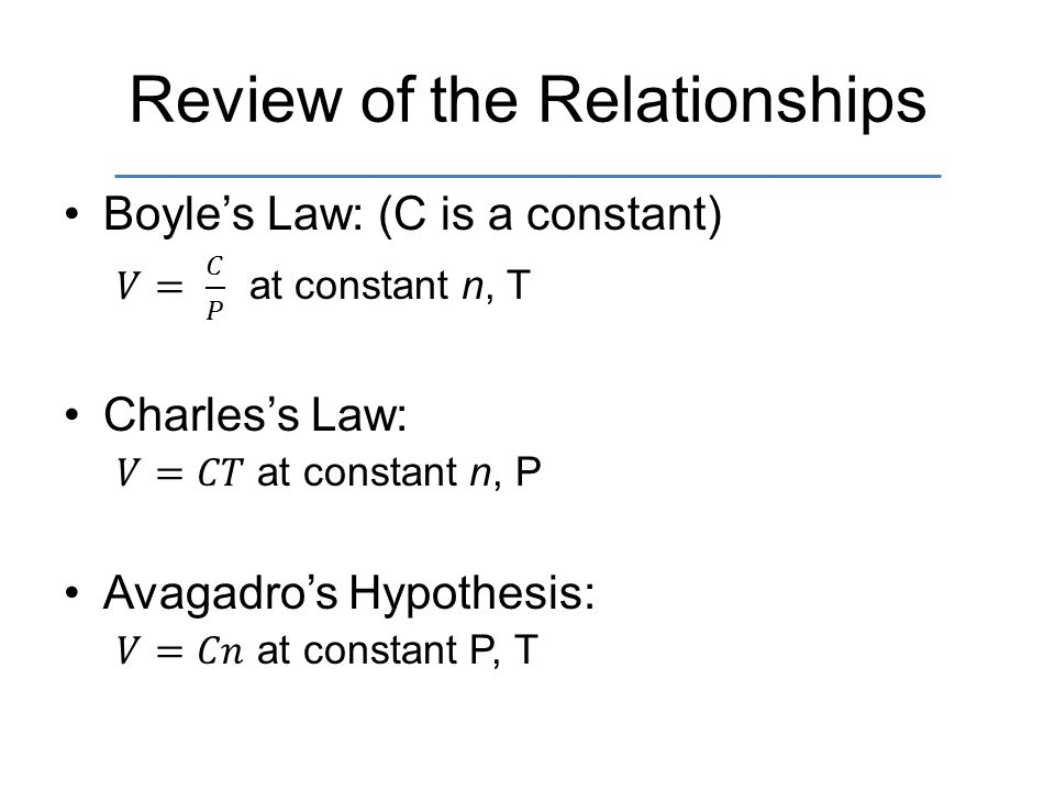 Review of the Relationships
