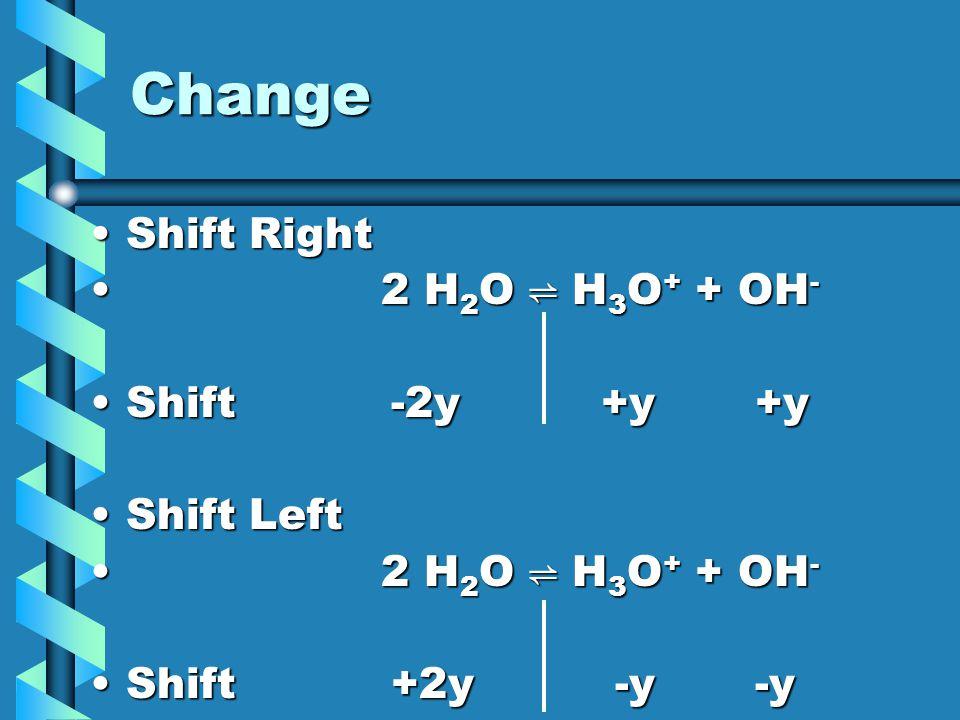 Change Shift Right 2 H2O ⇌ H3O+ + OH- Shift -2y +y +y Shift Left