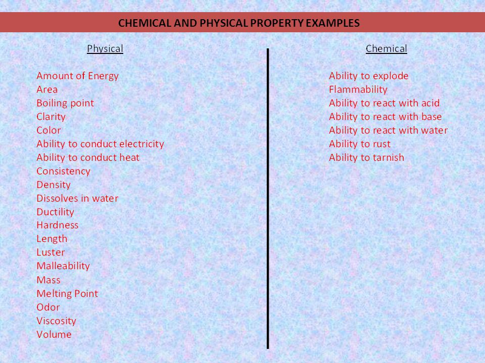 CHEMICAL AND PHYSICAL PROPERTY EXAMPLES