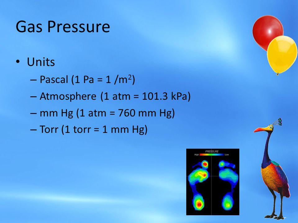 Gas Pressure Units Pascal (1 Pa = 1 /m2)