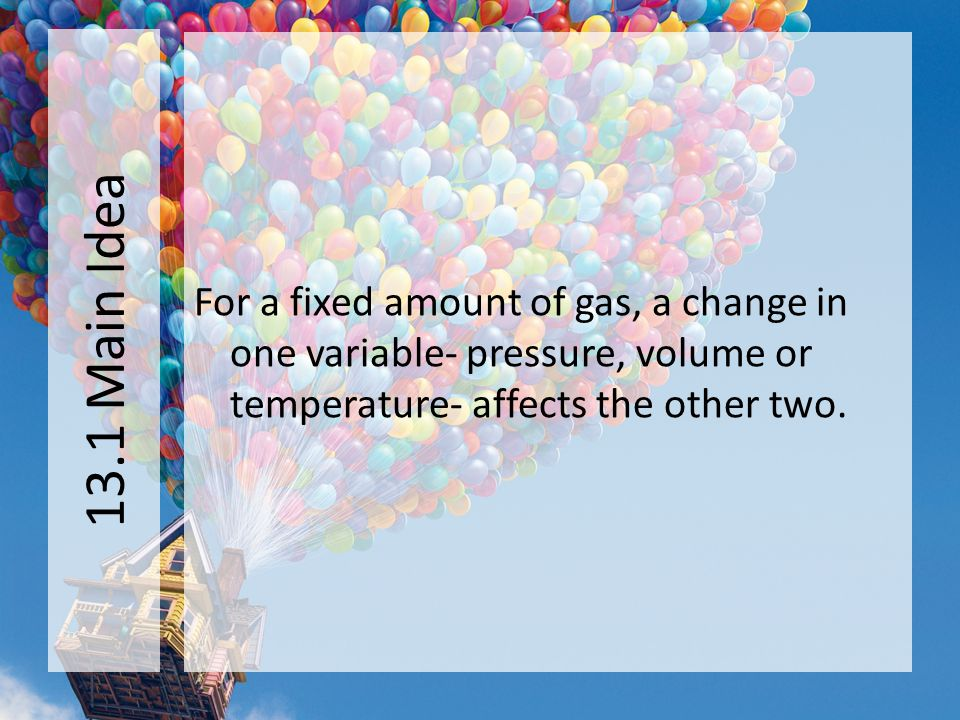 13.1 Main Idea For a fixed amount of gas, a change in one variable- pressure, volume or temperature- affects the other two.