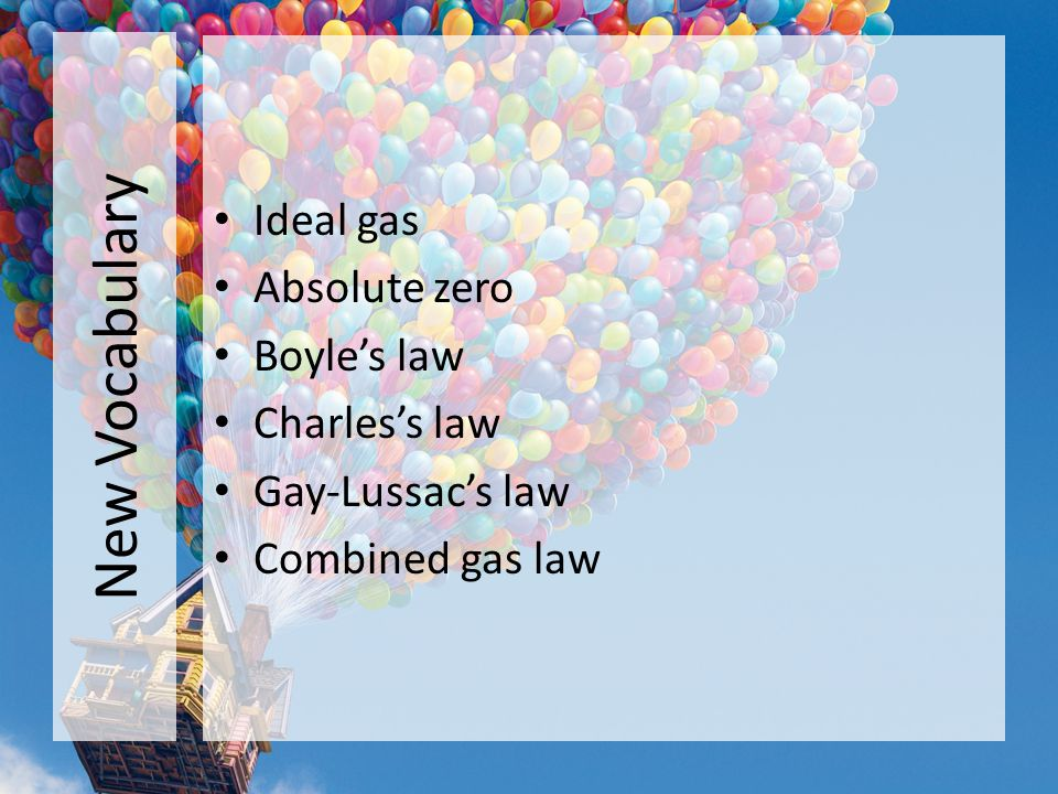 New Vocabulary Ideal gas Absolute zero Boyle's law Charles's law
