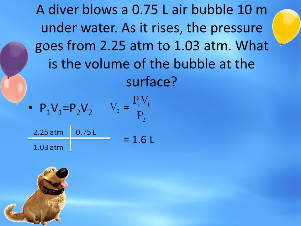 A diver blows a 0. 75 L air bubble 10 m under water