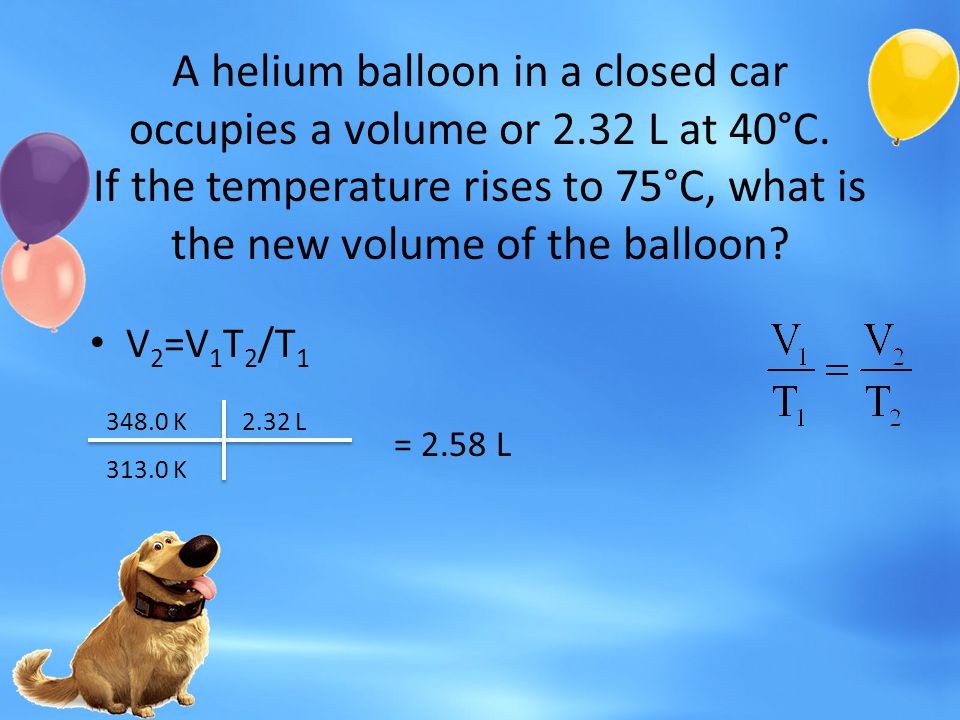 A helium balloon in a closed car occupies a volume or 2. 32 L at 40°C