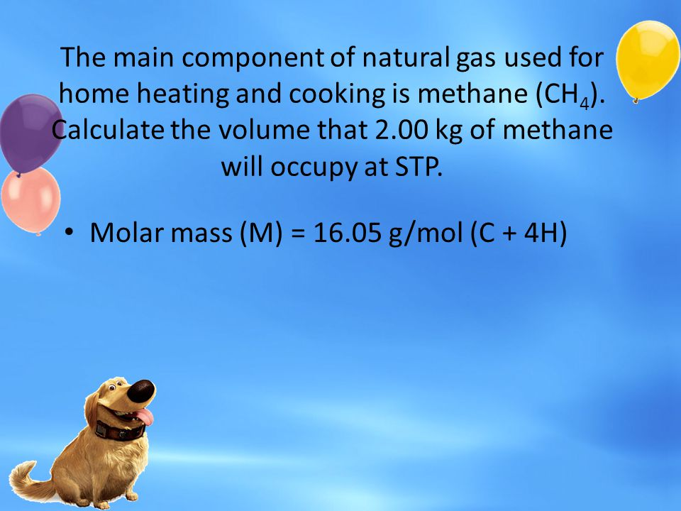 The main component of natural gas used for home heating and cooking is methane (CH4). Calculate the volume that 2.00 kg of methane will occupy at STP.