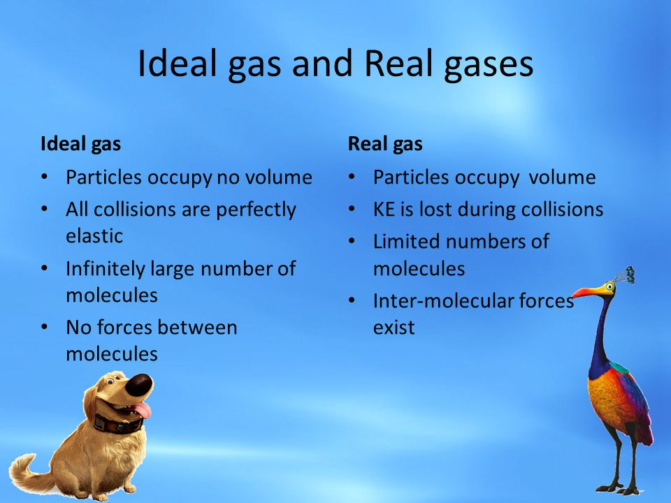 Ideal gas and Real gases