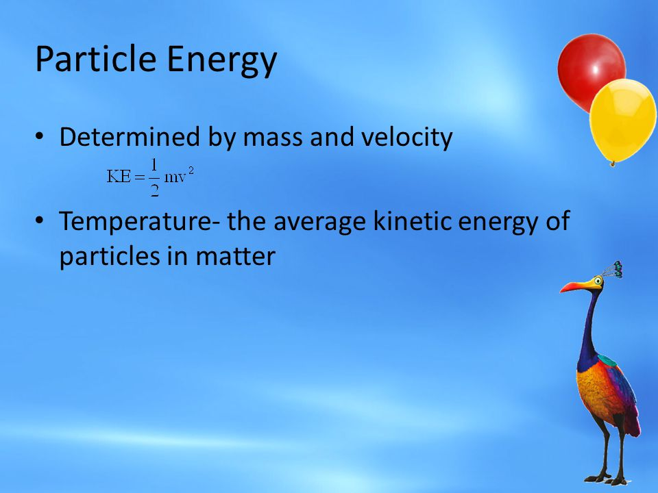 Particle Energy Determined by mass and velocity