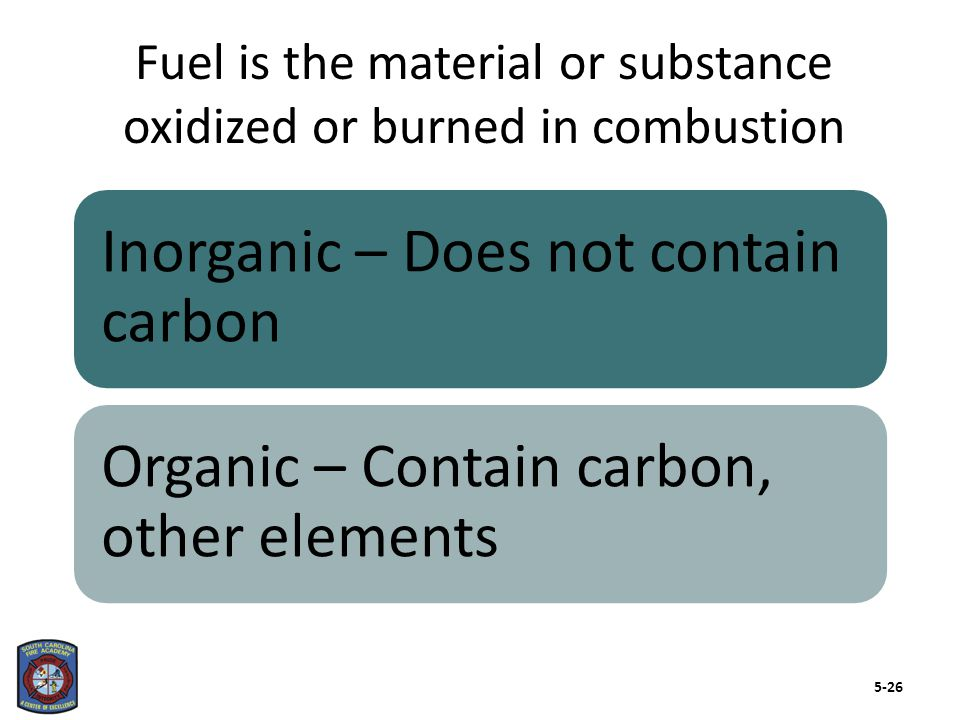 The chemical content of fuel influences heat of combustion and heat release rate