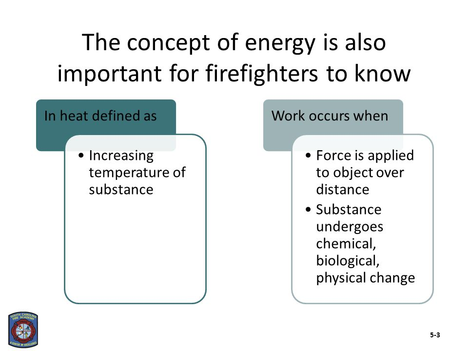 There are two forms of energy that firefighters should know about