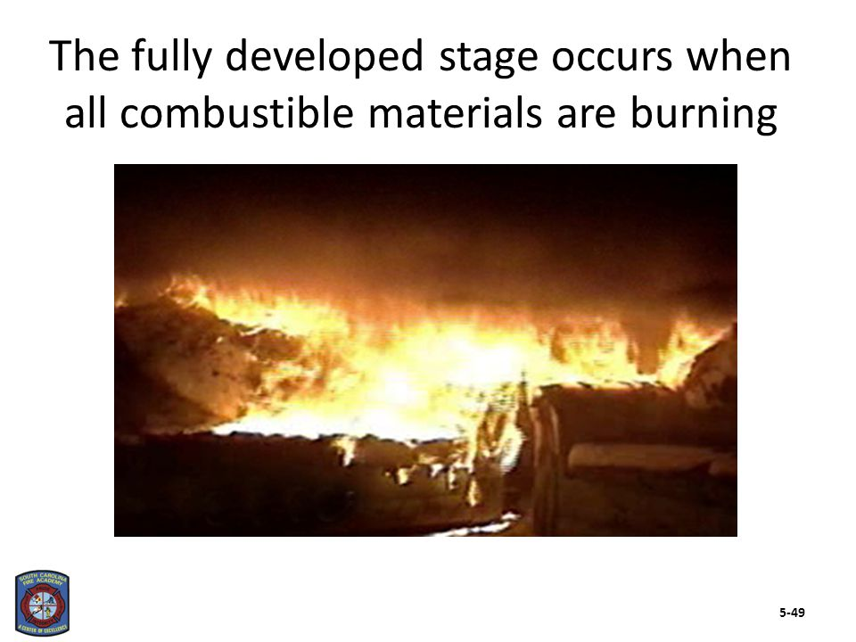 The decay stage brings combustion to a complete stop through two means