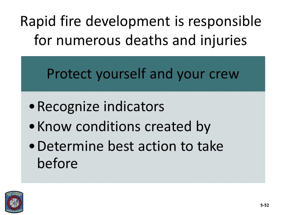 Transition between pre-flashover to post-flashover can occur rapidly