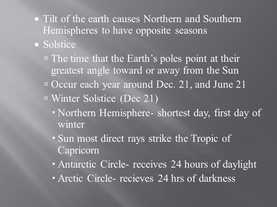 Tilt of the earth causes Northern and Southern Hemispheres to have opposite seasons