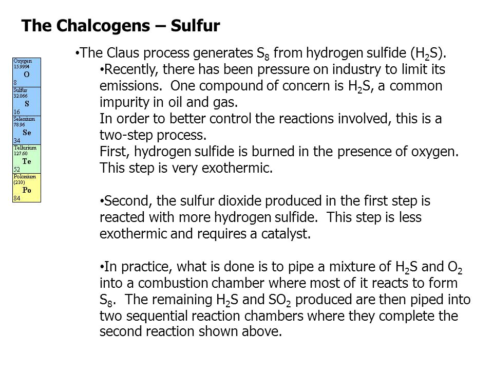 The Chalcogens – Sulfur