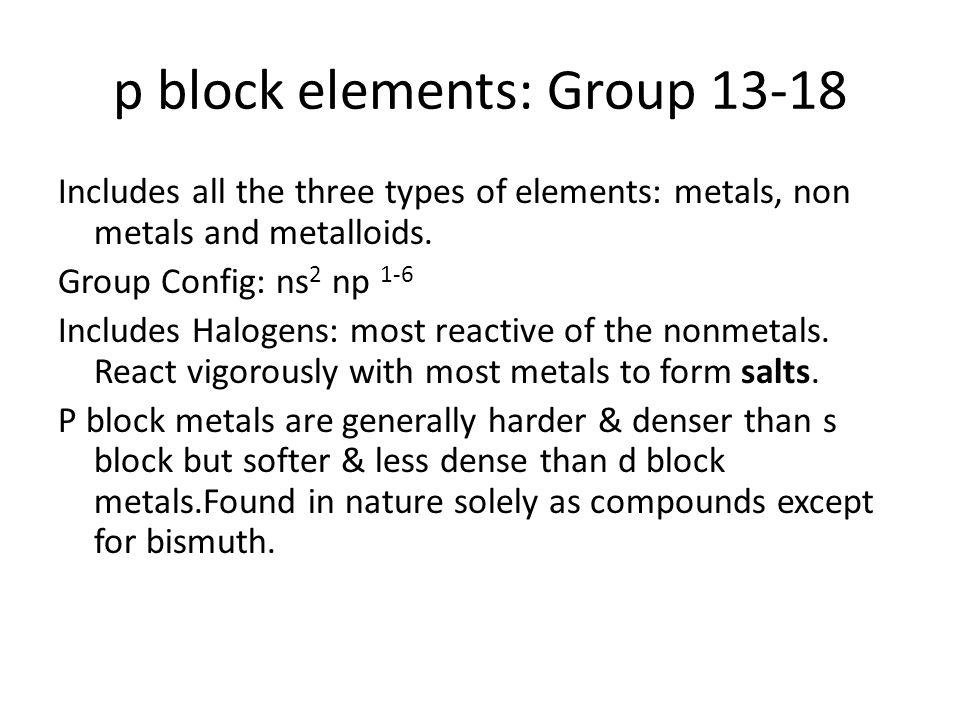 p block elements: Group 13-18
