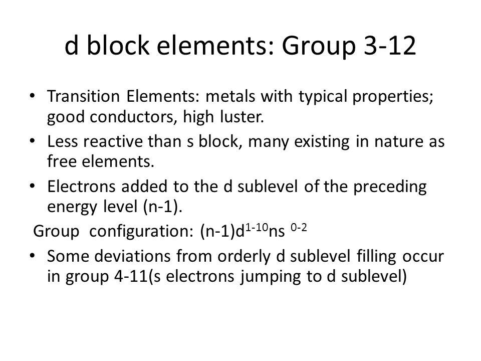 d block elements: Group 3-12