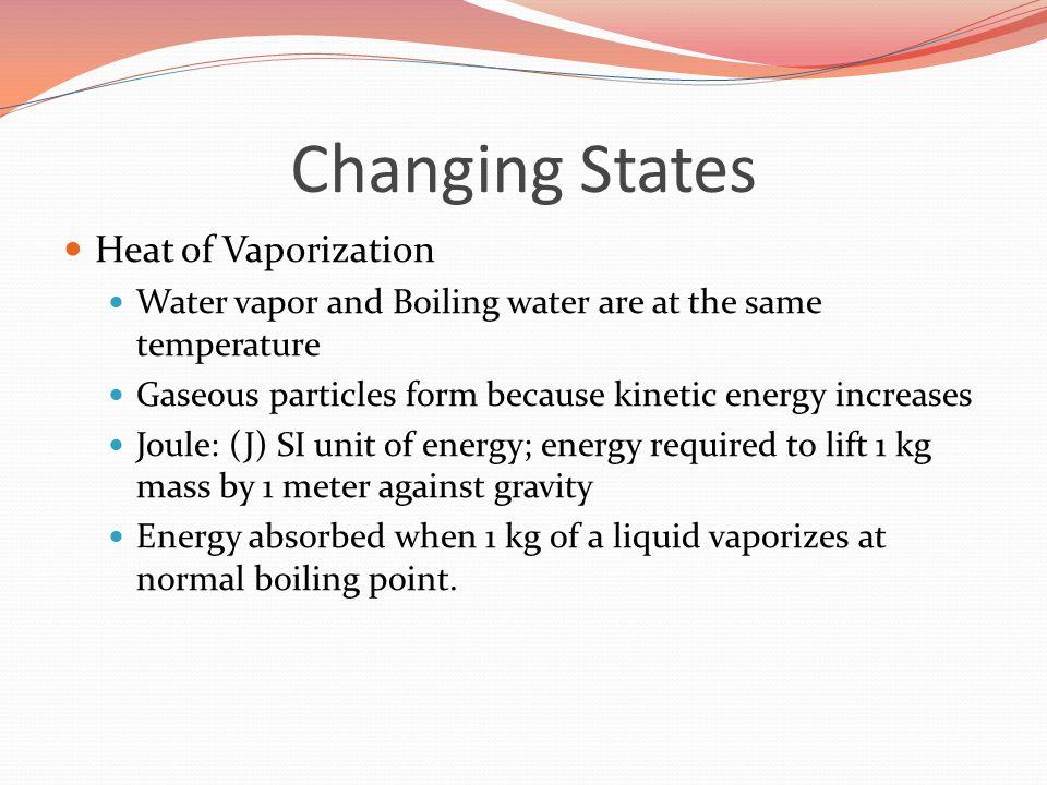 Changing States Heat of Vaporization
