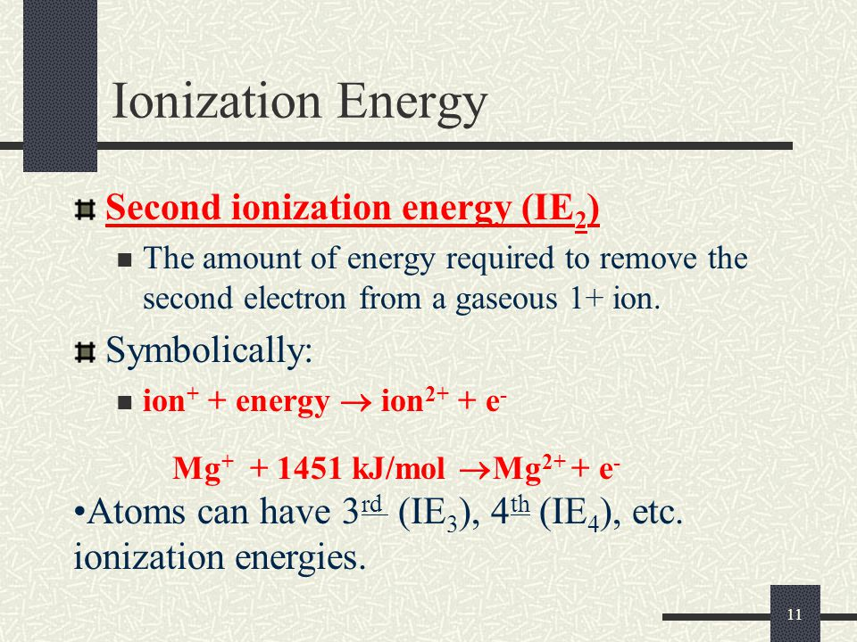 Ionization Energy Second ionization energy (IE2) Symbolically: