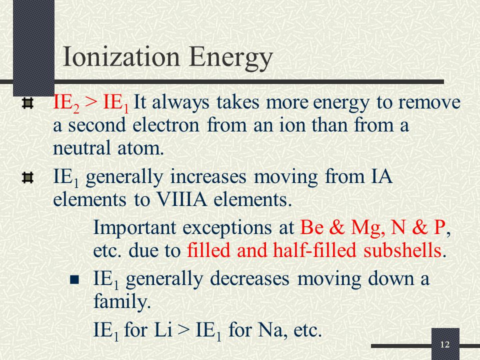 Ionization Energy IE2 > IE1 It always takes more energy to remove a second electron from an ion than from a neutral atom.
