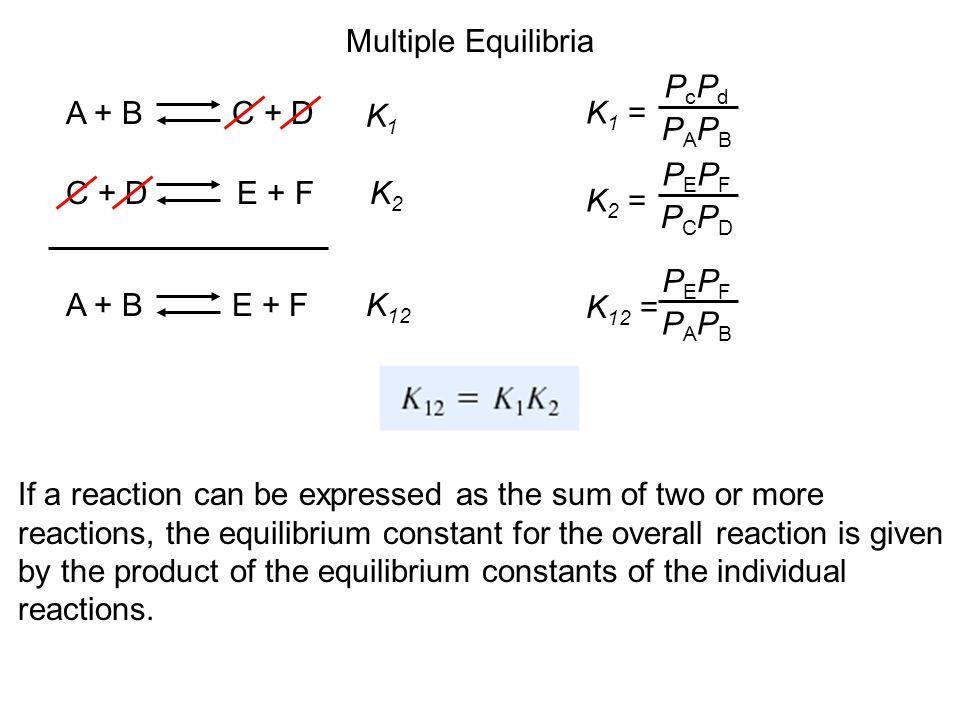 Multiple Equilibria K1 = PcPd. PAPB. A + B C + D. K1. K2 = PEPF. PCPD. C + D E + F.