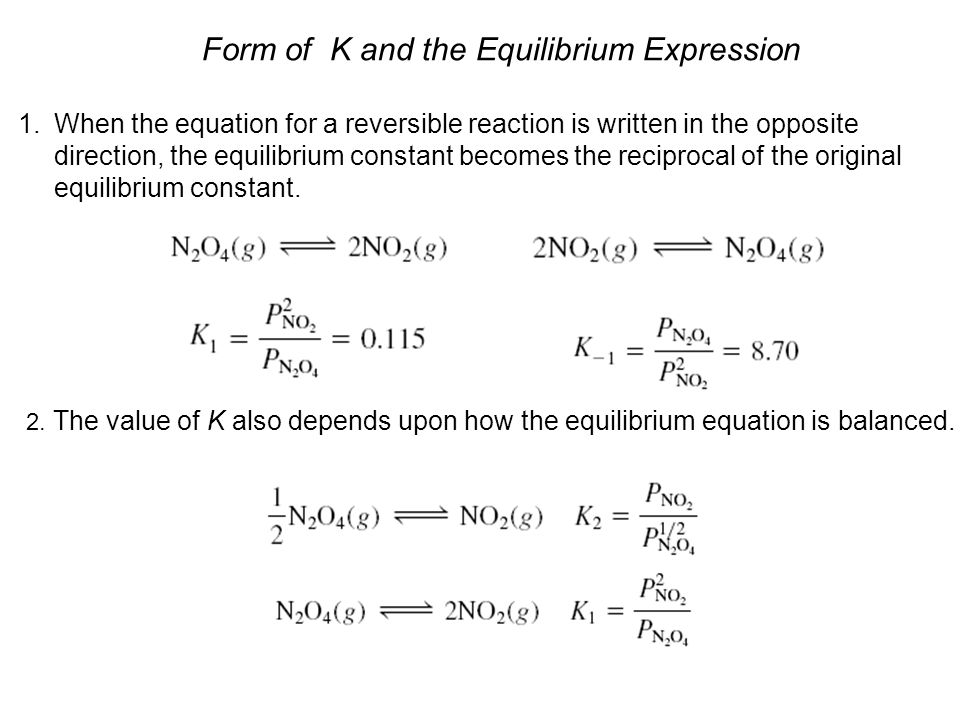 Form of K and the Equilibrium Expression