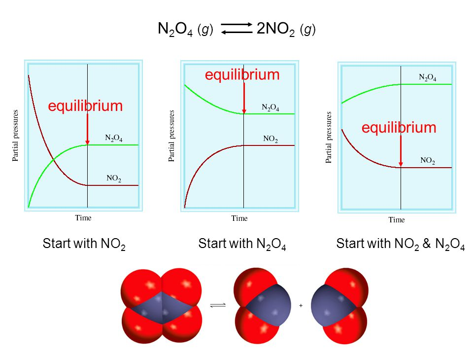 N2O4 (g) 2NO2 (g) equilibrium equilibrium equilibrium Start with NO2