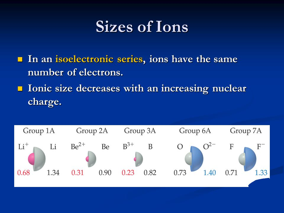 Sizes of Ions In an isoelectronic series, ions have the same number of electrons.
