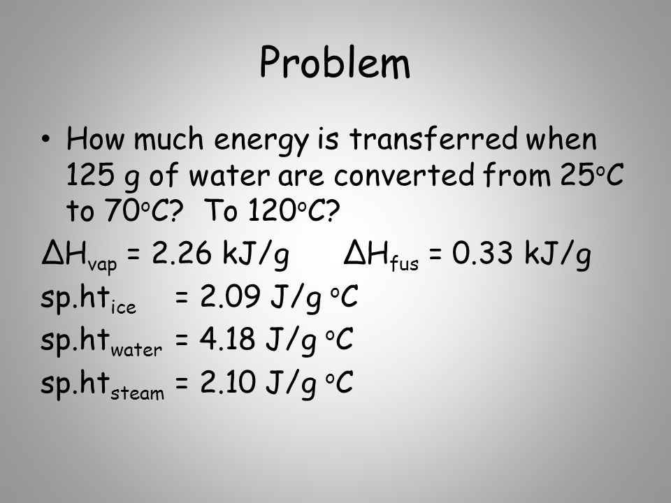Problem How much energy is transferred when 125 g of water are converted from 25oC to 70oC To 120oC