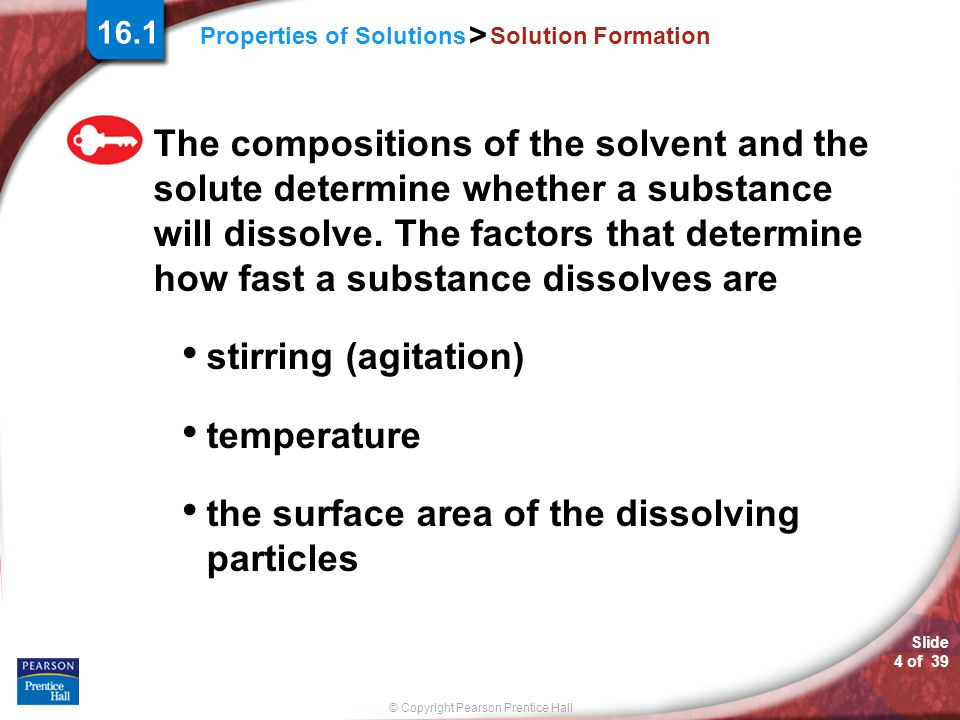 the surface area of the dissolving particles