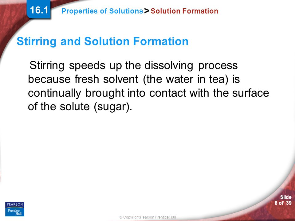 Stirring and Solution Formation
