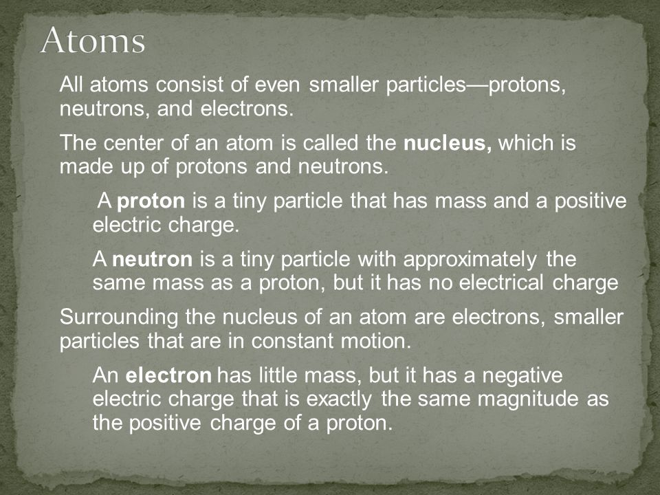 Atoms All atoms consist of even smaller particles—protons, neutrons, and electrons.