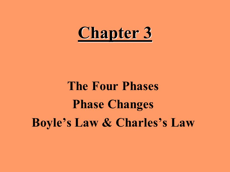 The Four Phases Phase Changes Boyle's Law & Charles's Law