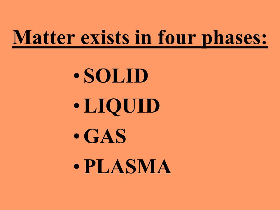 Matter exists in four phases: