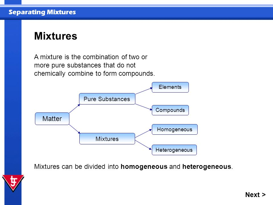 Mixtures A mixture is the combination of two or more pure substances that do not chemically combine to form compounds.