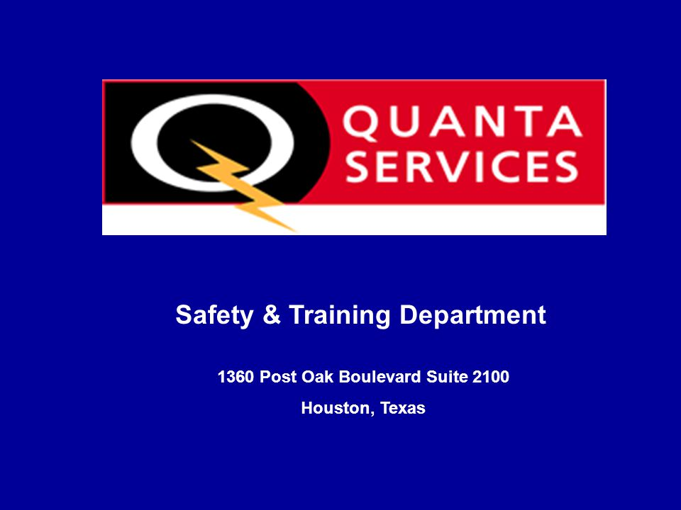 Safety & Training Department 1360 Post Oak Boulevard Suite 2100