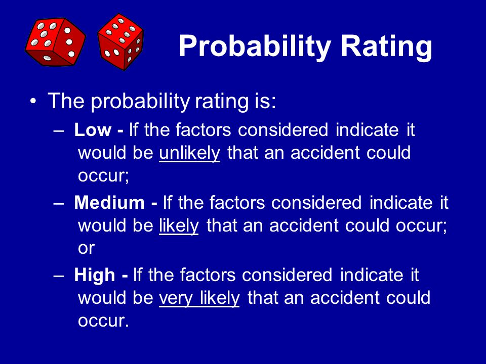 Probability Rating The probability rating is: