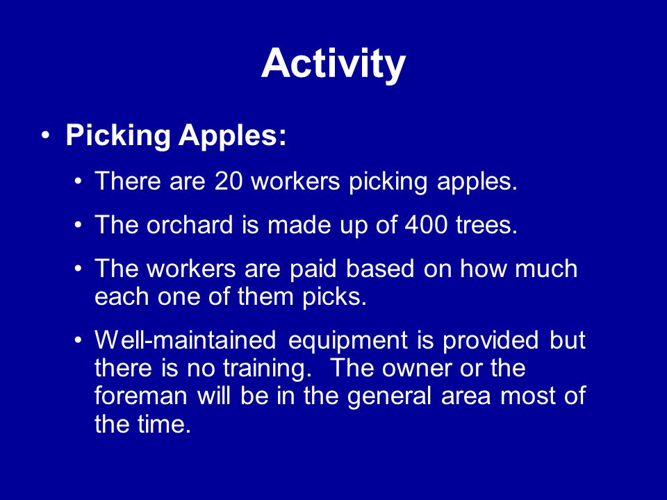 Activity Picking Apples: There are 20 workers picking apples.