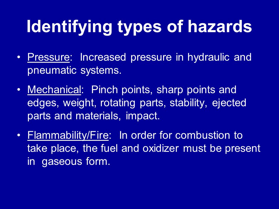 Identifying types of hazards