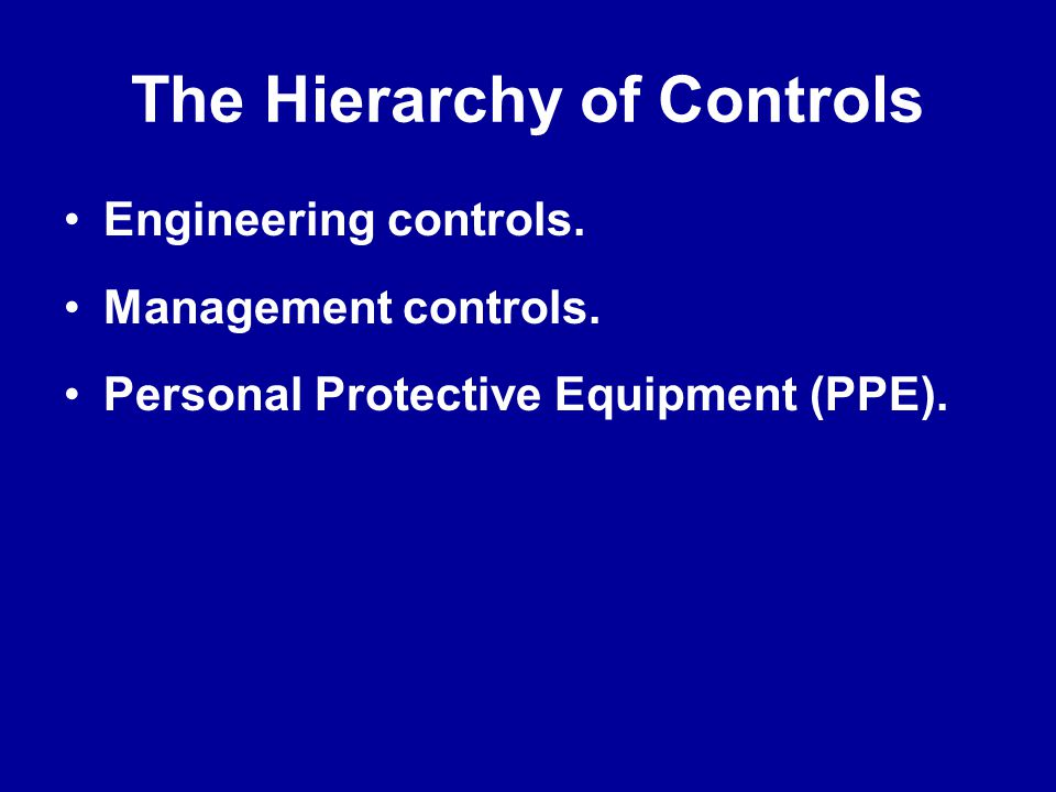 The Hierarchy of Controls
