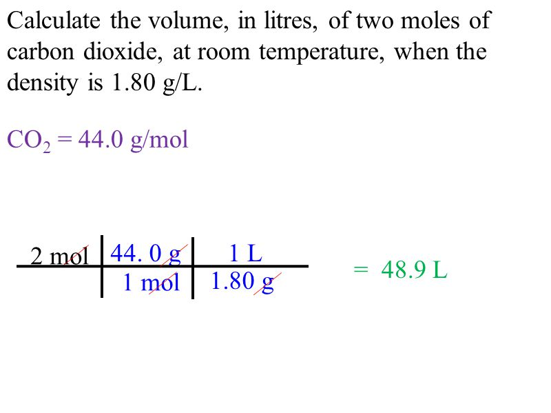 Calculate the volume, in litres, of two moles of carbon dioxide, at room temperature, when the density is 1.80 g/L.