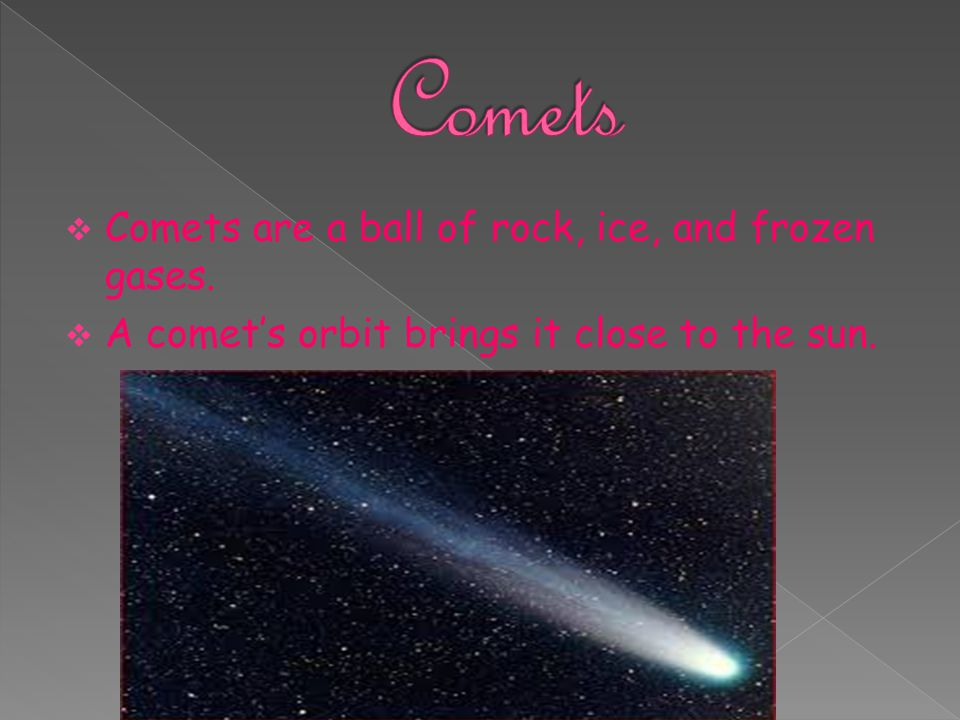 Comets Comets are a ball of rock, ice, and frozen gases.